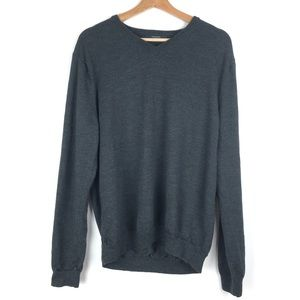 J CREW sweater XL gray merino wool V neck t106